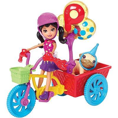 c2e2a27468 Boneca Polly Pocket - Crissy   Bicicleta Aventura Pet - Mattel
