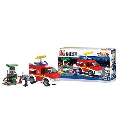 Blocos de Montar Fire - Caminhão de Bombeiros - 136 Peças - Sluban