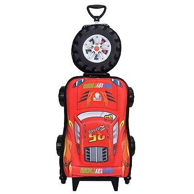 Kit Mochila Infantil 3D + Lancheira - Chrome Wheels Vermelho - Diplomata