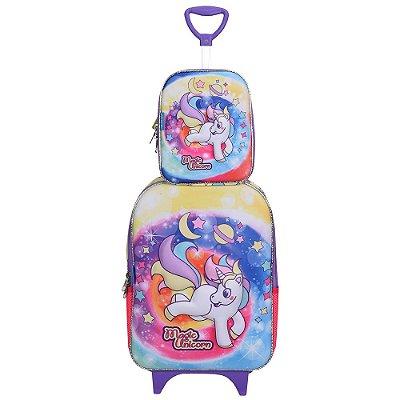 Kit Mochila Soft 3D + Lancheira - Magic Unicorn - Diplomata