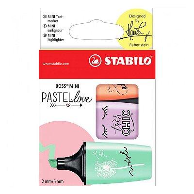Conjunto de Marca Textos Pastel Love Boss Mini - 3 cores - Stabilo