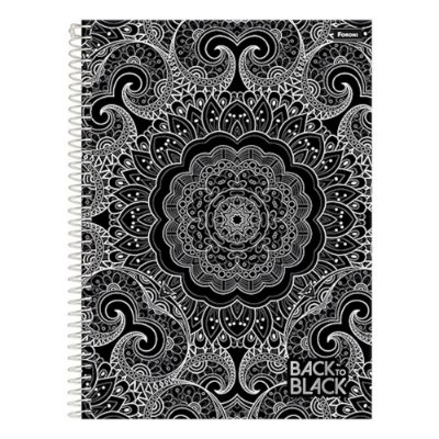 Caderno Back To Black - Mandala - 1 Matéria - Foroni