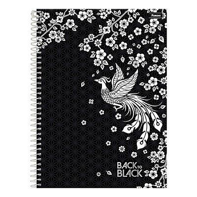 Caderno Back To Black - Fênix - 1 Matéria - Foroni