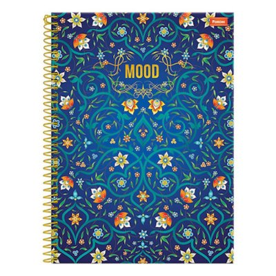 Caderno Mood - Flores Azul - 10 Matérias - Foroni