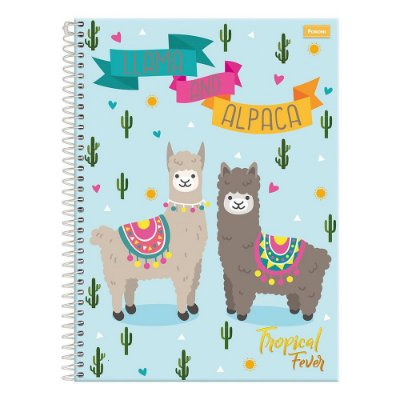 Caderno Tropical Fever - Lhama And Alpaca - 15 Matérias - Foroni