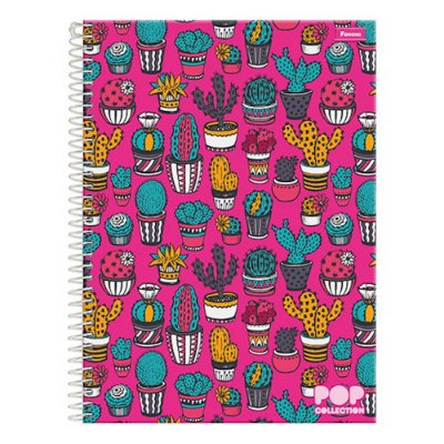 Caderno Pop Collection - Cactos - 10 Matérias - Foroni