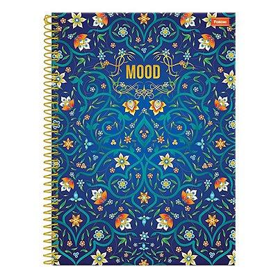 Caderno Mood - Flores Azul - 1 Matéria - Foroni