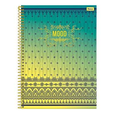 Caderno Mood - Degradê Amarelo e Verde - 1 Matéria - Foroni