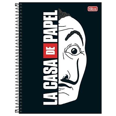 Caderno La Casa de Papel - Máscara - 10 matérias - Tilibra