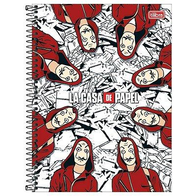 Caderno La Casa de Papel - Branco - 16 matérias - Tilibra