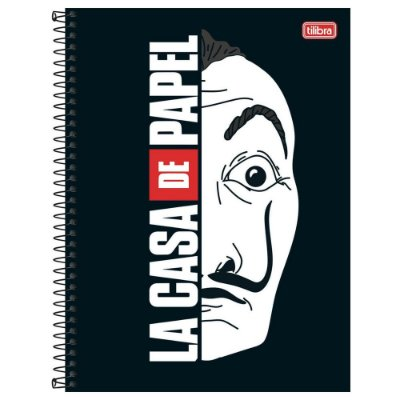 Caderno La Casa de Papel - Máscara - 16 matérias - Tilibra
