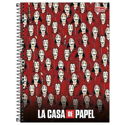 Caderno La Casa de Papel - Vermelho- 1 matéria - Tilibra