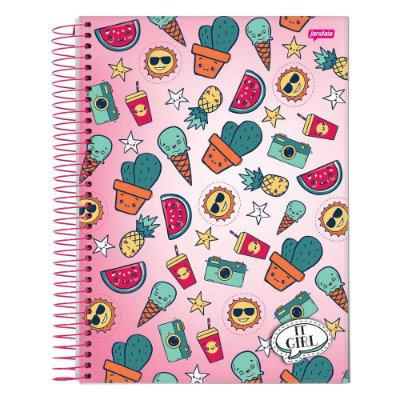Caderno It Girl - Cactos - 1 Matéria - Jandaia