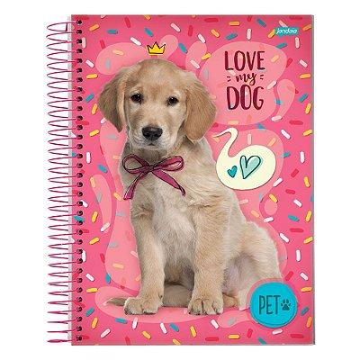 Caderno Pet Cachorrinho - Rosa - 10 Matérias - Jandaia