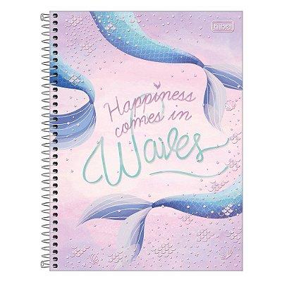 Caderno Wonder - Happiness Comes In Waves - 160 Folhas - Tilibra
