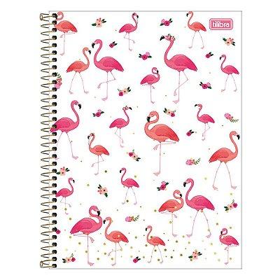 Caderno Aloha - Floral - Flamingos - 80 Folhas - Tilibra