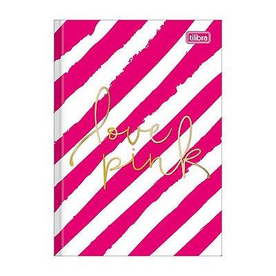 Caderno 1/4 Brochura Love Pink - Listras Rosas - 96 Folhas - TIlibra