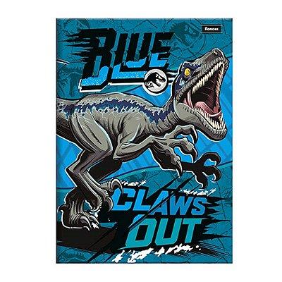 Caderno 1/4 Brochura Jurassic World - Azul - 96 Folhas - Foroni