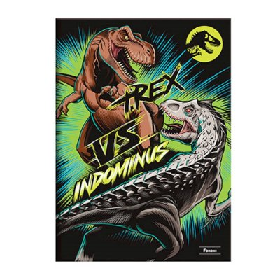 Caderno 1/4 Brochura Jurassic World - T-Rex vs Indominus - 96 Folhas - Foroni