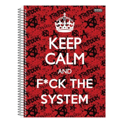 Caderno Keep Calm And F*ck The System - 10 Matérias - São Domingos