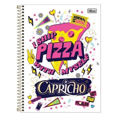 Caderno Capricho - I Ship Pizza - 10 Matérias - Tilibra