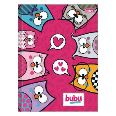 Caderno Brochura Bubu e As Corujinhas - Rosa - 80 Folhas - Tilibra