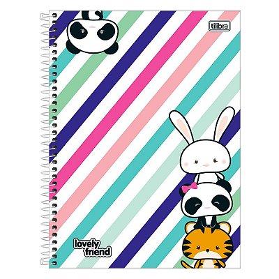 Caderno Lovely Friend - Panda e Amiguinhos - 1 Matéria - Tilibra
