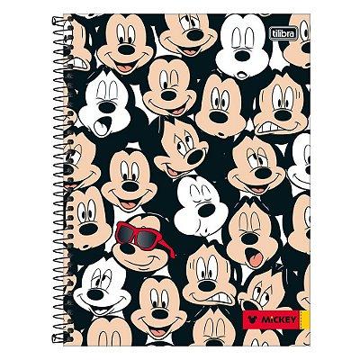 Caderno Mickey Mouse - Rostinhos - 1 Matéria - Tilibra