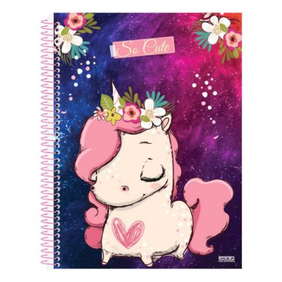 Caderno So Cute - Unicórnio Mini - 10 Matérias - São Domingos