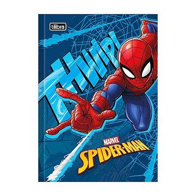 Caderno 1/4 Brochura Spider Man - Azul - 96 Folhas - Tilibra