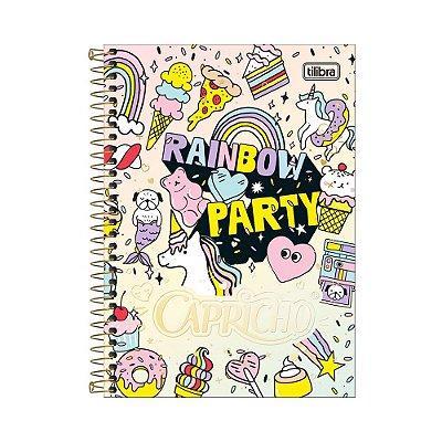 Caderno 1/4 Espiral Capricho - Rainbow Party - 80 Folhas - Tilibra