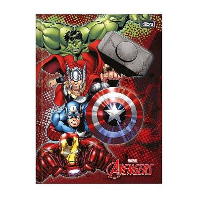 Caderno 1/4 Brochura Avengers - Vermelho - 96 Folhas - Tilibra
