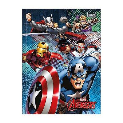 Caderno 1/4 Brochura Avengers - Azul - 96 Folhas - Tilibra