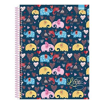 Caderno Love - Elefantes - 1 Matéria - São Domingos