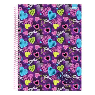Caderno Love - Corações Roxo - 10 Matérias - São Domingos