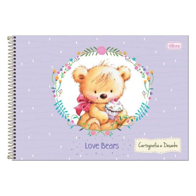 Caderno de Cartografia e Desenho Love Bears - Lilás - Tilibra