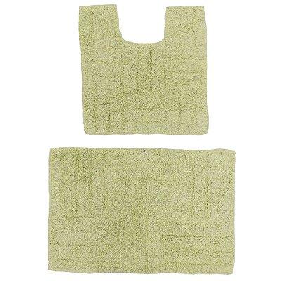 Kit de Tapetes Para Banheiro Murano - 2 Peças - Verde Claro - Rozac