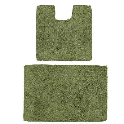 Kit de Tapetes Para Banheiro Murano - 2 Peças - Verde Aspargo - Rozac
