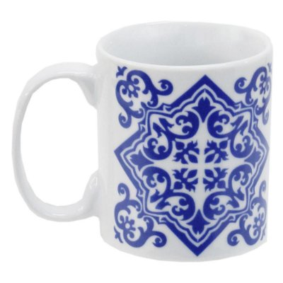 Caneca em Porcelana Indigo Blue 300ml - Portuguese - Incasa