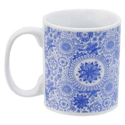 Caneca em Porcelana Indigo Blue 300ml - Henna - Incasa