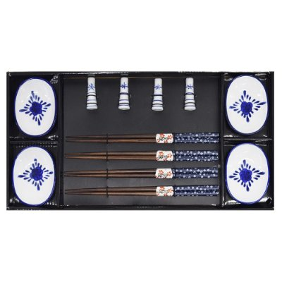Kit Para Comida Japonesa - 4 Pessoas - Branco e Azul - BTC