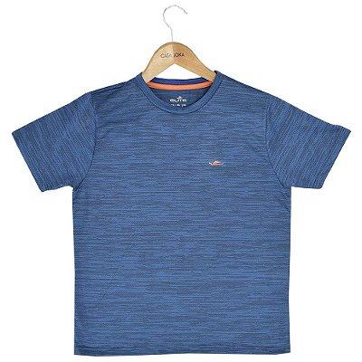 Camiseta Infantil Masculina Texturizada - Azul e Laranja - Elite