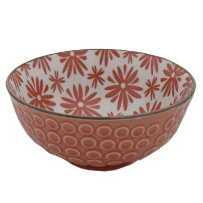 Bowl em Porcelana Texturizado 280ml - Flores Coral - Full Fit