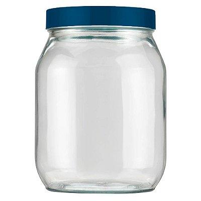 Pote de Vidro Com Tampa 1,3L - Azul Petróleo - Invicta