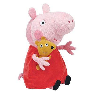 Pelúcia Beanie Buddies Ty Peppa Pig M - Vermelha - DTC