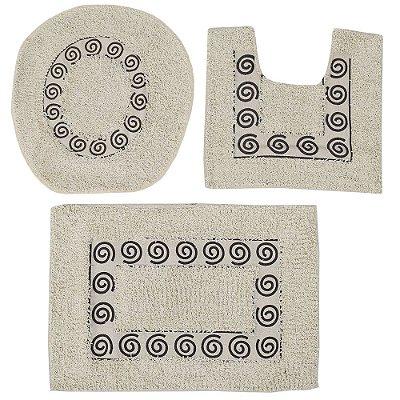 Jogo de Tapetes Para Banheiro - 3 Peças - Bege e Preto - Sultan