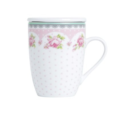 Caneca com Tampa e Filtro 310ml - Super White Rose - Lyor
