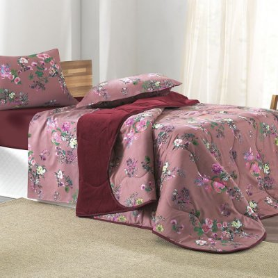 Edredom Dupla Face Com Plush New Confort Queen - Pink Spring - Altenburg