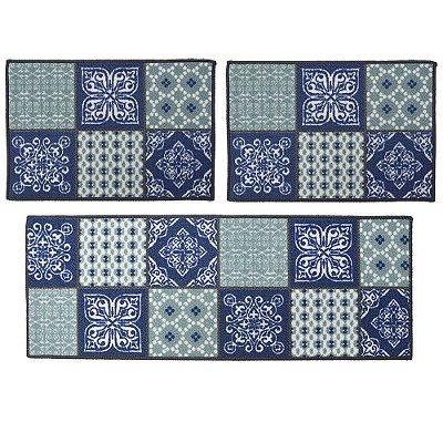 Kit Tapetes Para Cozinha - 3 Peças - Ladrilhos Azul/Verde - Camesa
