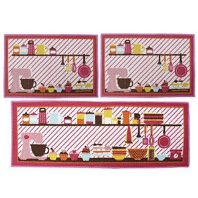 Kit Tapetes Para Cozinha - 3 Peças - Cozinha Rosa - Camesa
